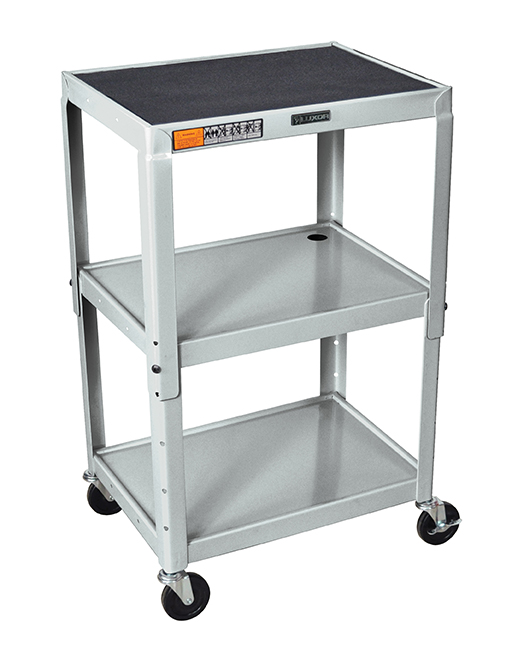 Luxor Furniture AVJ42-CH Utility Cart w/ Locking Brakes, Adjusts to 42-in, 24 x 18-in, Nickel