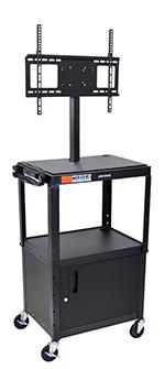 Luxor Furniture AVJ42C-LCD Metal Cart w/ 46-in Flat Panel Display Mount & Locking Cabinet, Black