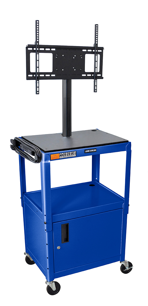 Luxor Furniture AVJ42C-LCD-RB Metal Cart w/ 46-in Flat Panel Display Mount & Locking Cabinet, Royal Blue