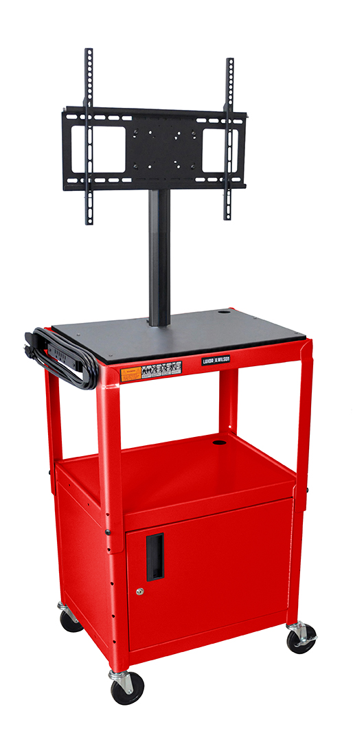 Luxor Furniture AVJ42C-LCD-RD Metal Cart w/ 46-in Flat Panel Display Mount & Locking Cabinet, Red