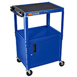 Luxor Furniture AVJ42C-RB Utility Cart w/ Locking Cabinet, Adjusts to 42-in, 24 x 18-in, Royal Blu