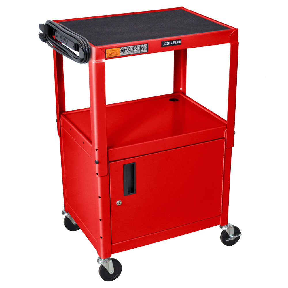 Luxor Furniture AVJ42C-RD Utility Cart w/ Locking Cabinet, Adjusts to 42-in, 24 x 18-in, Red