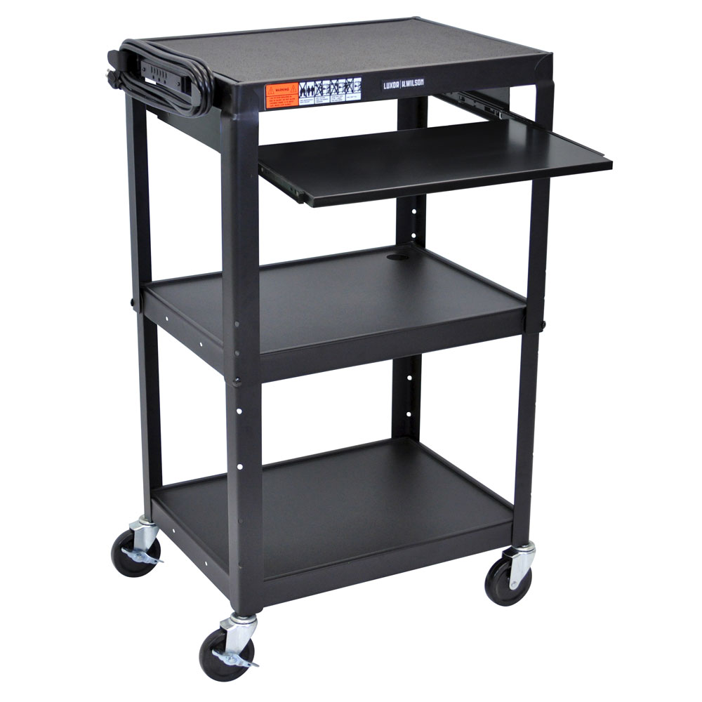 Luxor Furniture AVJ42KB Utility Cart w/ Pull-Out Keyboard, Adjusts to 42-in, 24 x 18-in, Black
