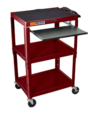 Luxor Furniture AVJ42KB-BY Utility Cart w/ Pull-Out Keyboard, Adjusts to 42-in, 24 x 18-in, Burgundy