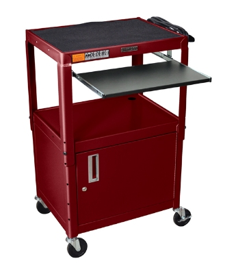 Luxor Furniture AVJ42KBC-BY Utility Cart w/ Pull-Out Keyboard, Cabinet, Adjusts to 42-in, 24x18-in, Burgundy