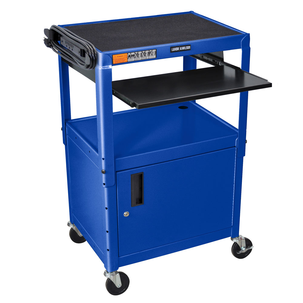 Luxor Furniture AVJ42KBC-RB Utility Cart w/ Keyboard & Cabinet, Adjusts to 42-in, 24 x 18-in, Royal Blue