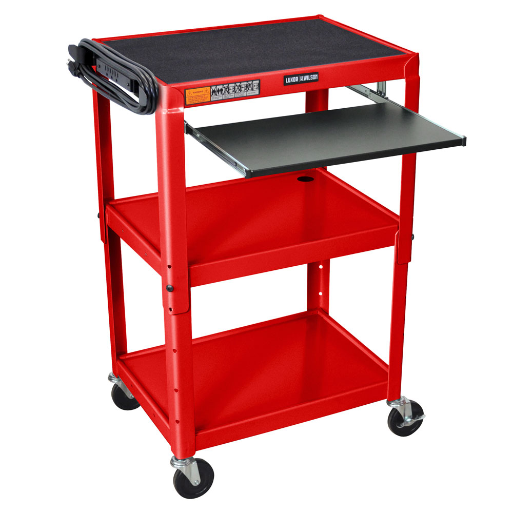 Luxor Furniture AVJ42KB-RD Utility Cart w/ Pull-Out Keyboard, Adjusts to 42-in, 24 x 18-in, Red