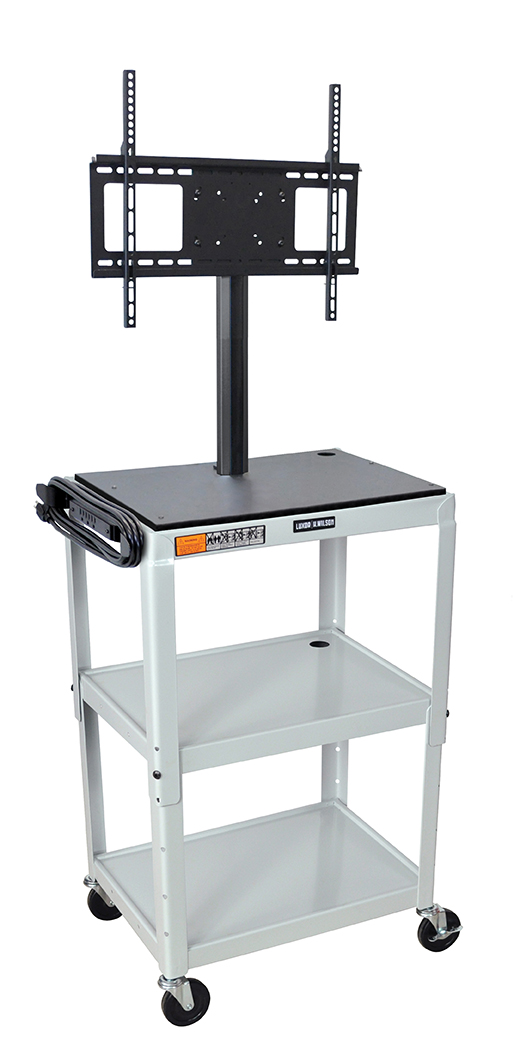 Luxor Furniture AVJ42-LCD-LG Metal Cart w/ 46-in Flat Panel Display Mount, Adjusts to 42-in, Light Gray
