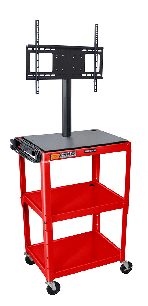Luxor Furniture AVJ42-LCD-RD Metal Cart w/ 46-in Flat Panel Display Mount, Adjusts to 42-in, Red