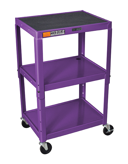 Luxor Furniture AVJ42-P Utility Cart w/ Locking Brakes, Adjusts to 42-in, 24 x 18-in, Purple