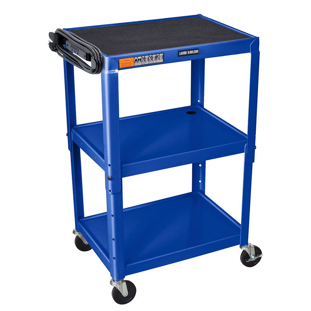 Luxor Furniture AVJ42-RB Utility Cart w/ Locking Brakes, Adjusts to 42-in, 24 x 18-in, Royal Blue