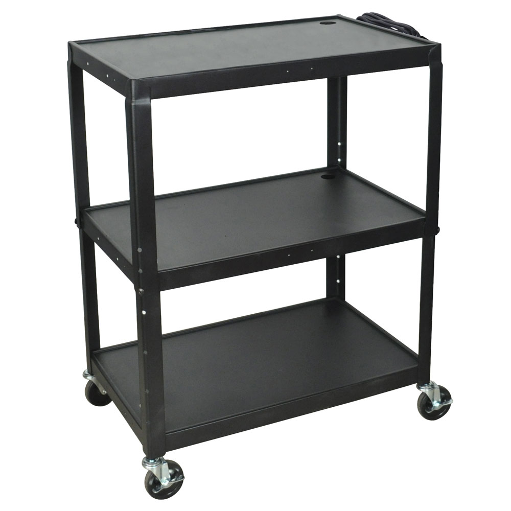 Luxor Furniture AVJ42XL Extra Large Utility Cart w/ 32 x 20-in Shelves, Adjusts to 42-in H, Black