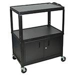 Luxor Furniture AVJ42XLC Extra Large Utility Cart w/ Locking Cabinet, Adjusts to 42-in H, Black