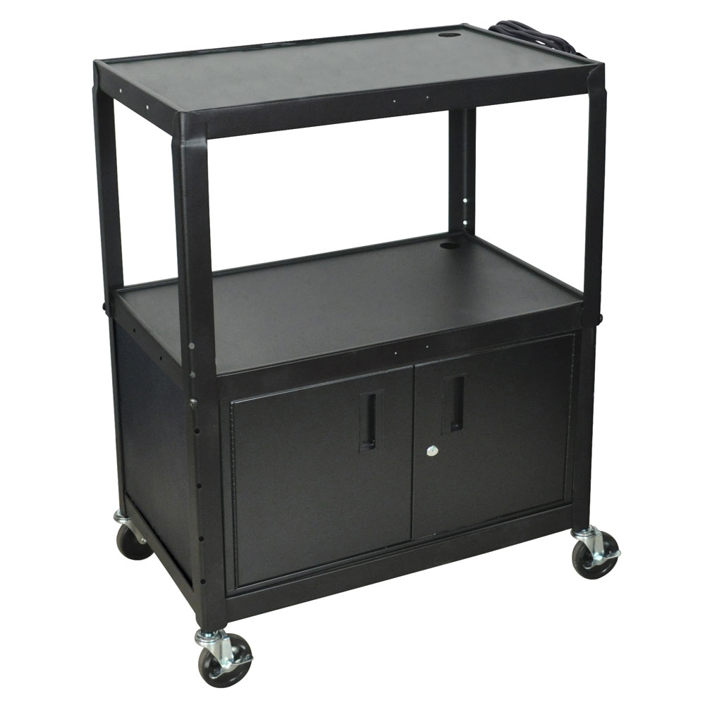 Luxor Furniture AVJ42XLC Extra Large Utility Cart w/ Locking Cabinet, Adjusts to 42-in H, Black