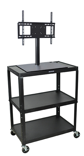 Luxor Furniture AVJ42XL-LCD Extra Large Metal Cart w/ Flat Panel Display Mount, Adjusts to 42-in H, Black