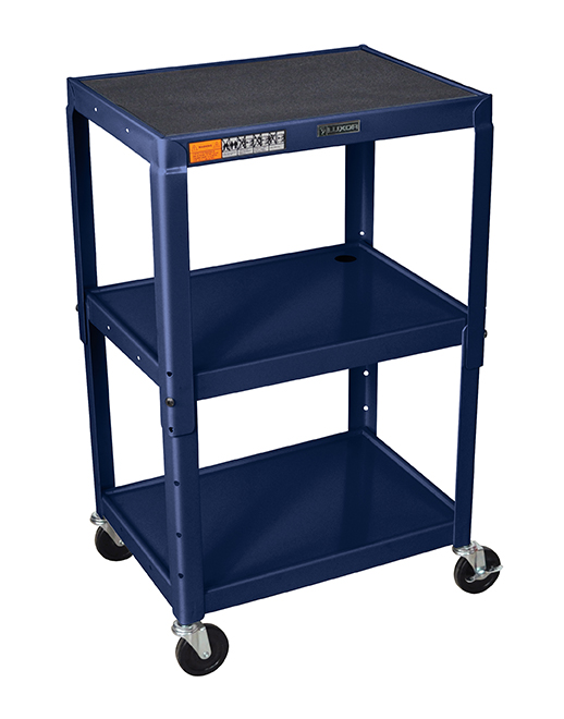 Luxor Furniture AVJ42-Z Utility Cart w/ Locking Brakes, Adjusts to 42-in, 24 x 18-in, Navy