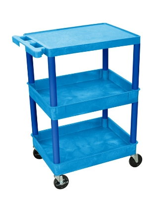 Luxor Furniture BUSTC211BU Multipurpose Cart w/ 2-Tubs & Flat Shelf, 24x18x36.5-in, Polyethylene, Blue