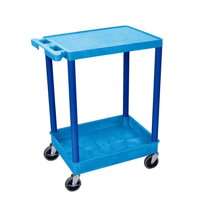 Luxor Furniture BUSTC21BU Multipurpose Cart w/ Tub & Flat Shelf, 24x18x35.5-in, Polyethylene, Blue