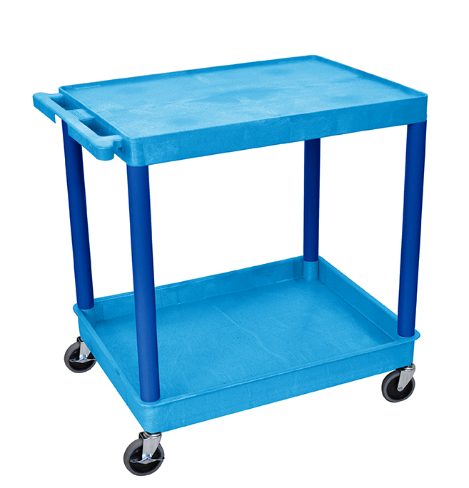 Luxor Furniture BUTC21BU Multipurpose Cart w/ Tub & Flat Shelf, 32x24x35.75-in, Polyethylene, Blue