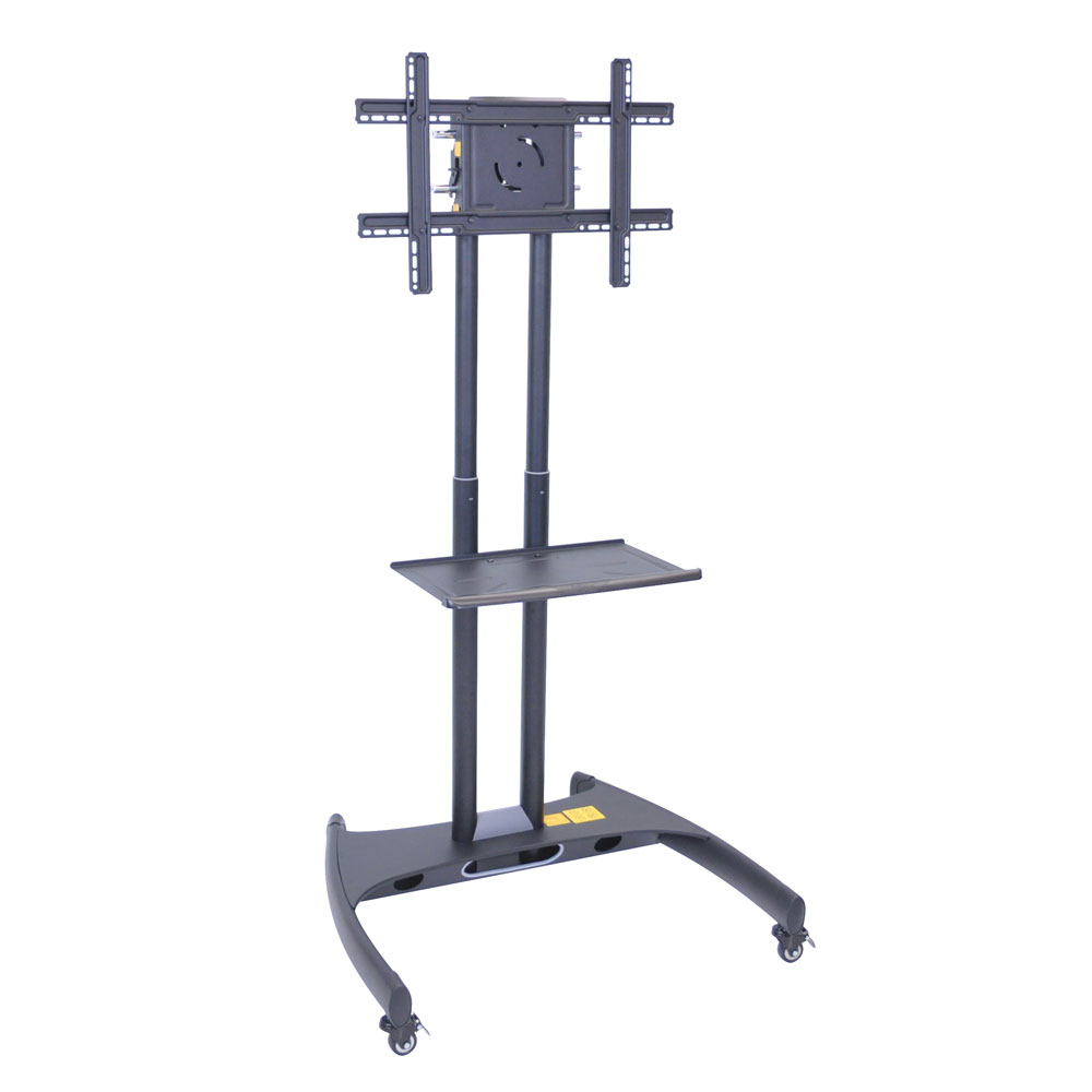 Luxor Furniture FP2500 Adjustable Height TV Stand w/ Shelf, 100-lb Capacity & Locking Casters