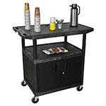 Luxor Furniture HE40CWT-B Coffee Service Cart w/ Molded Plastic Shelf Steel Locking Cabinet 40.25x42x24-in