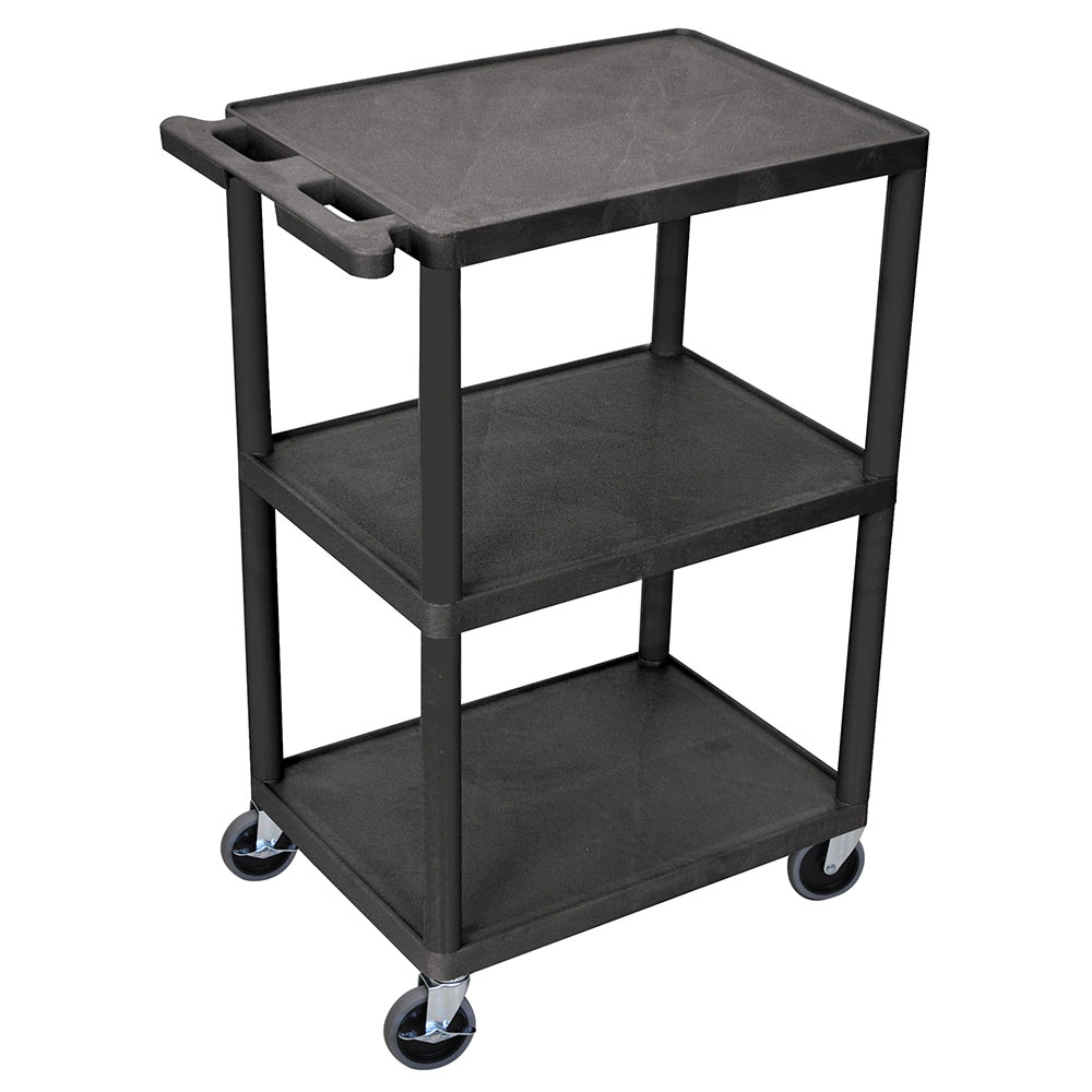 Luxor Furniture HE42-B 3-Shelf Utility Cart w/ Integral Push Handle, 41-in High, Black
