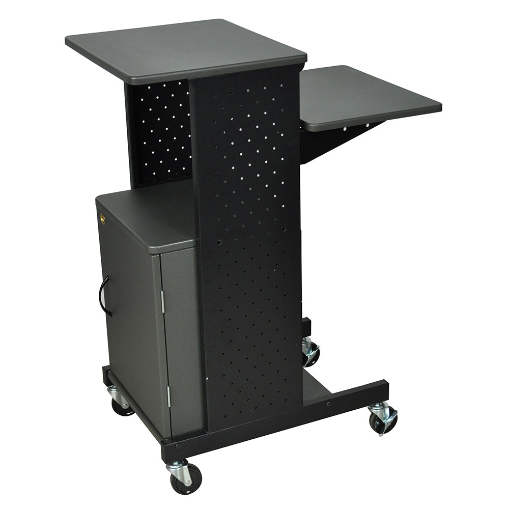Luxor Furniture PS4000C Mobile Presentation Station w/ 4-Work Surfaces & Cabinet, Adjust to 33-in H