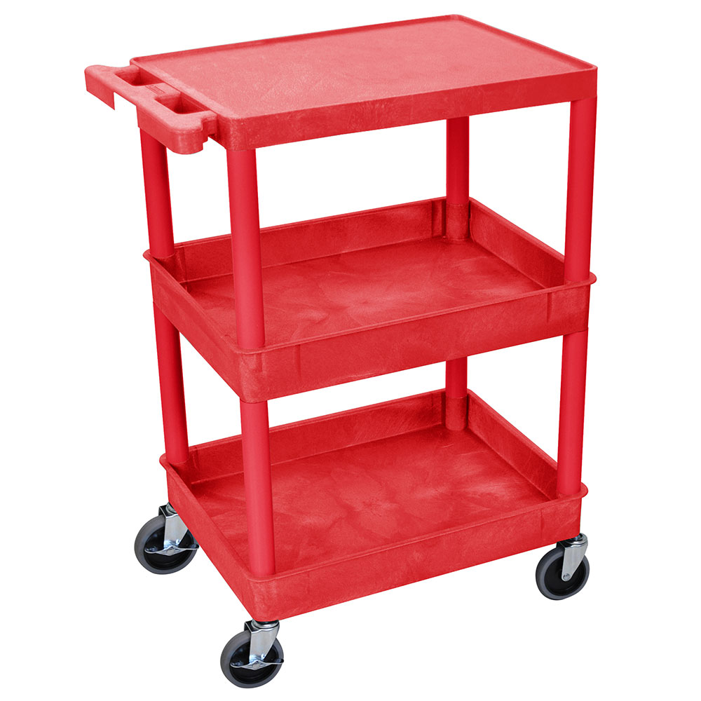 Luxor Furniture RDSTC211RD Multipurpose Cart w/ 2-Tubs & Flat Shelf, 24x18x36.5-in, Polyethylene, Red