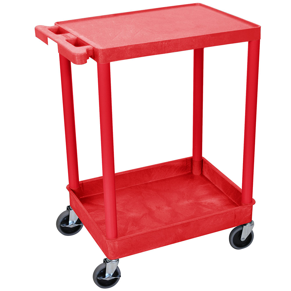 Luxor Furniture RDSTC21RD Multipurpose Cart w/ Tub & Flat Shelf, 24x18x35.5-in, Polyethylene, Red