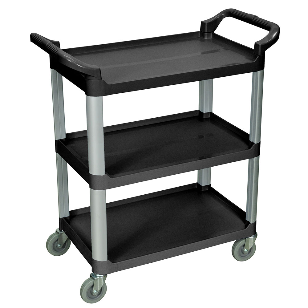Luxor Furniture SC12-B 3-Shelf Serving Cart w/ Dual Handles 200-lb Capacity Scratch Resistant, Black