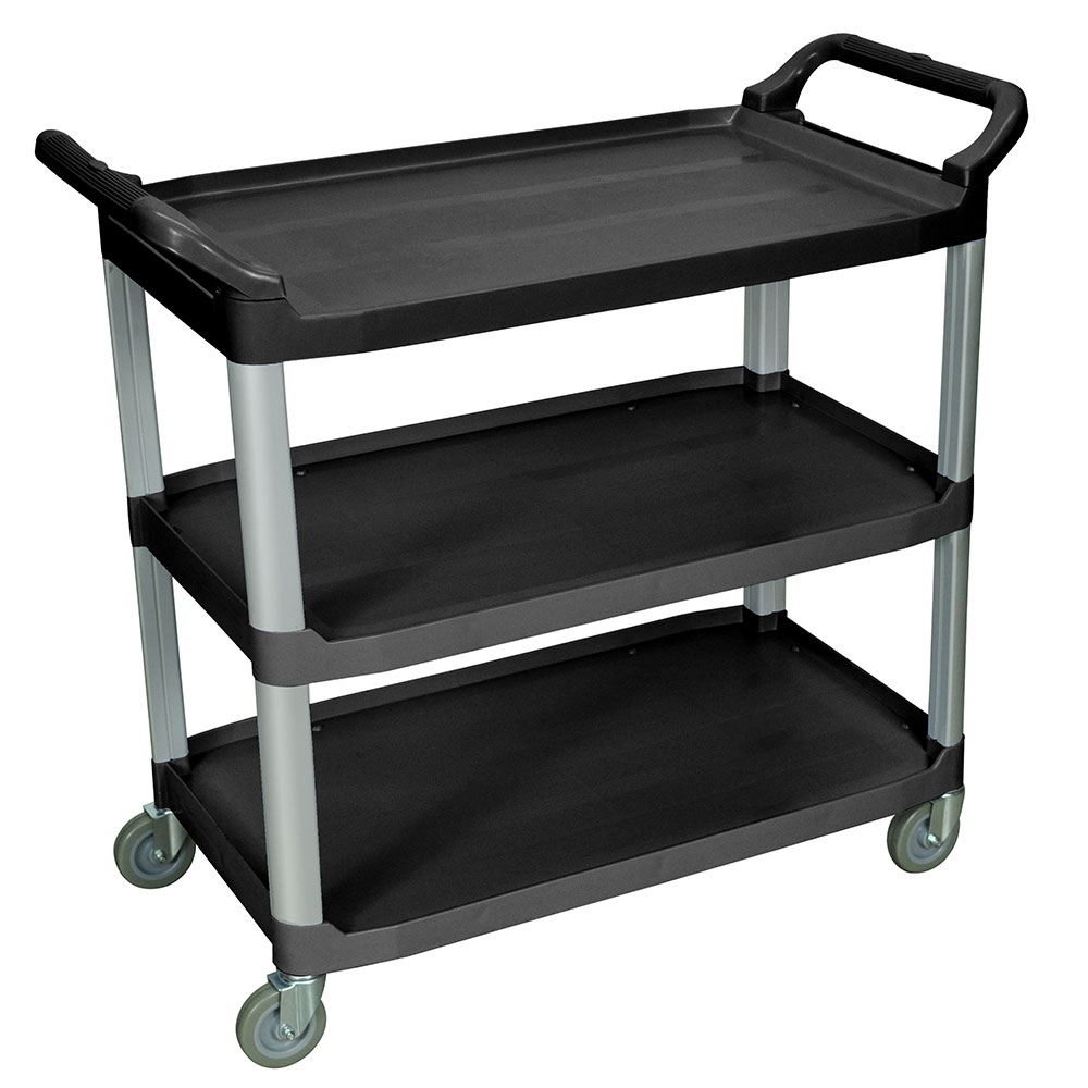 Luxor Furniture SC13-B 3-Shelf Serving Cart w/ Dual Handles 300-lb Capacity Scratch Resistant, Black