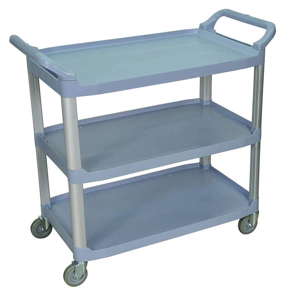 Luxor Furniture SC13-G 3-Shelf Serving Cart w/ Dual Handles 300-lb Capacity Scratch Resistant, Gray