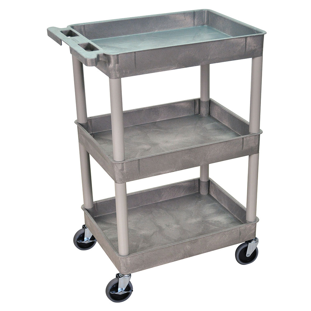 Luxor Furniture STC111-G 3-Tub Multi Purpose Cart w/ Integrated Molded Handle, Gray