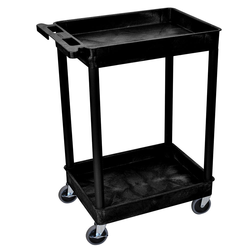 Luxor Furniture STC11-B 2-Tub Multi Purpose Cart w/ Integrated Molded Handle, Black