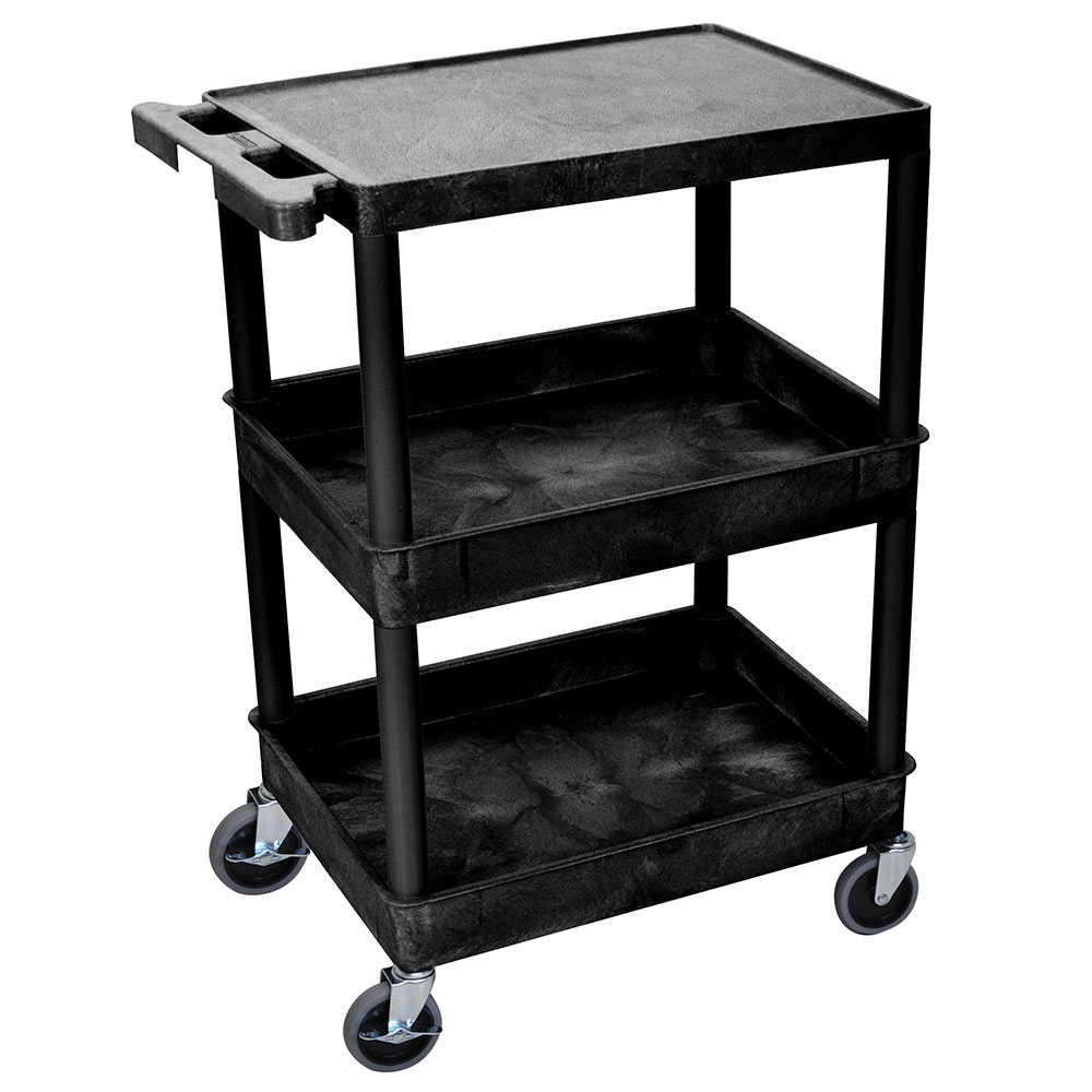 Luxor Furniture STC211-B Multipurpose Cart w/ 2-Tubs & Flat Shelf, 24x18x36.5-in, Polyethylene, Black