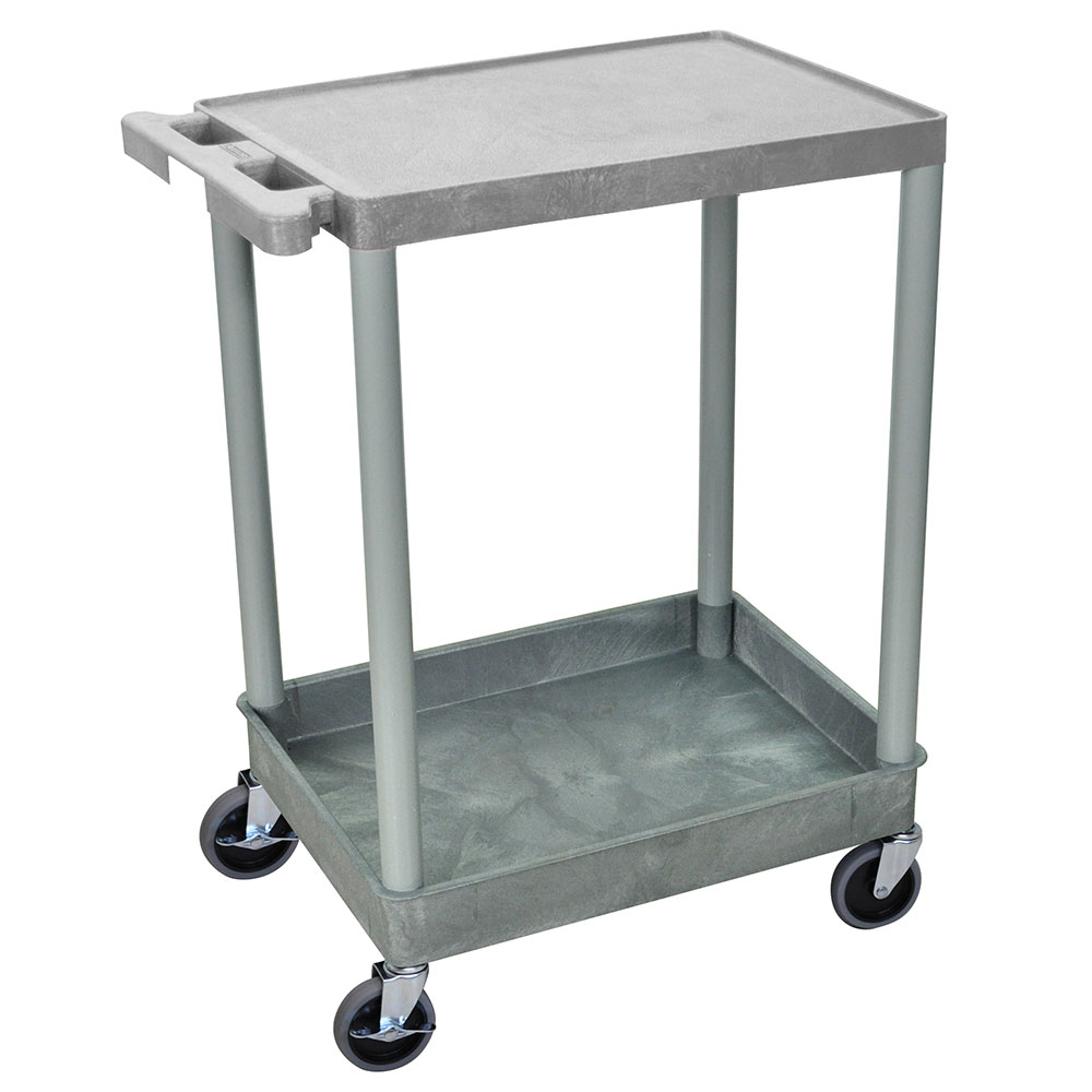 Luxor Furniture STC21-G Multipurpose Cart w/ Tub & Flat Shelf, 24x18x35.5-in, Polyethylene, Gray