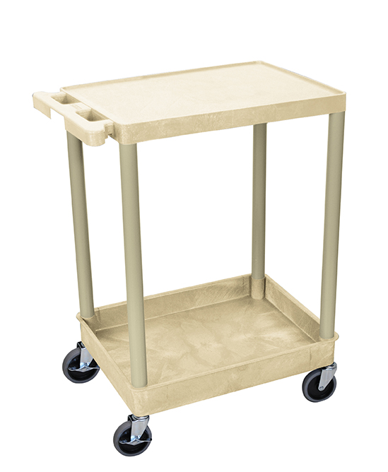 Luxor Furniture STC21-P Multipurpose Cart w/ Tub & Flat Shelf, 24x18x35.5-in, Polyethylene, Putty