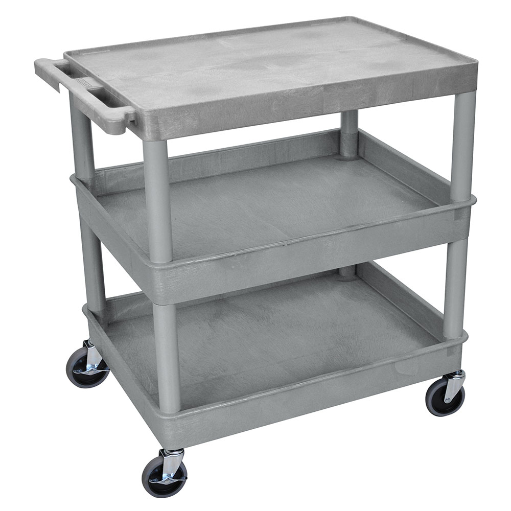 Luxor Furniture TC211-G Multipurpose Cart w/ 2-Tubs & Flat Shelf, 32x24x36.5-in, Polyethylene, Gray