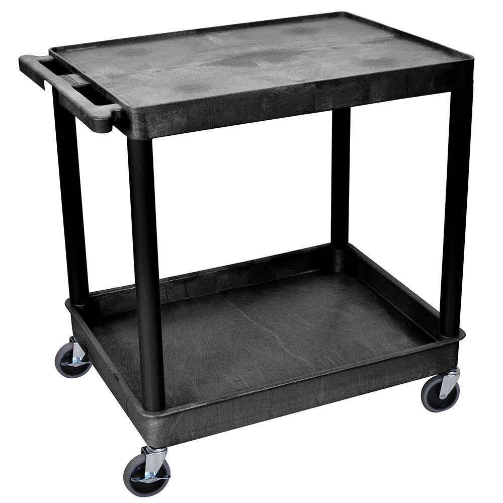 Luxor Furniture TC21-B Multipurpose Cart w/ Tub & Flat Shelf, 32x24x35.75-in, Polyethylene, Black