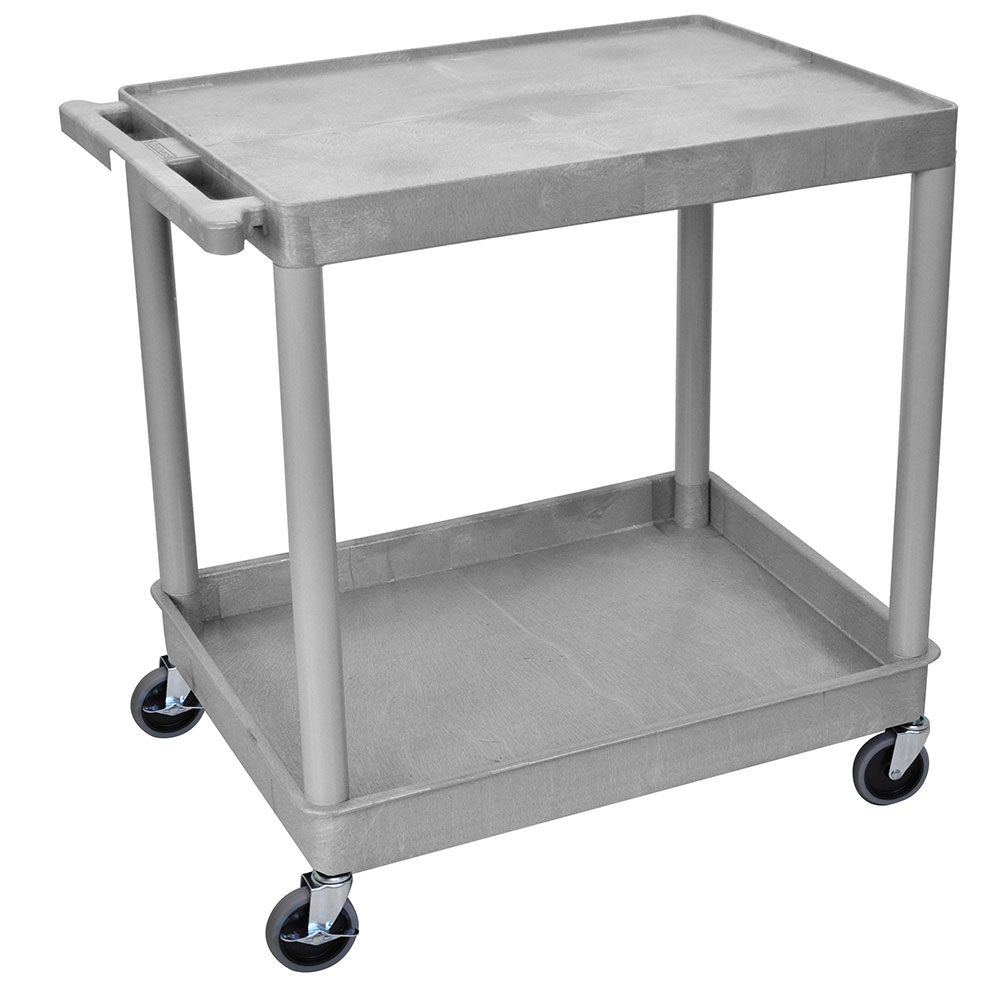 Luxor Furniture TC21-G Multipurpose Cart w/ Tub & Flat Shelf, 32x24x35.75-in, Polyethylene, Gray