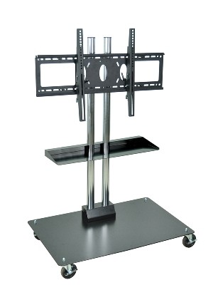 Luxor Furniture WPSMS44CH-4 Mobile Flat Panel TV Stand & Mount, Accomodates Up to 60-in, Black Base