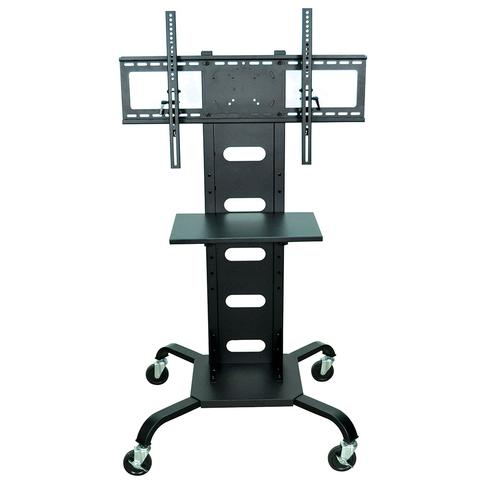 Luxor Furniture WPSMS51 Mobile Flat Panel TV Stand & Mount w/Shelf & Curved Metal Legs, Black