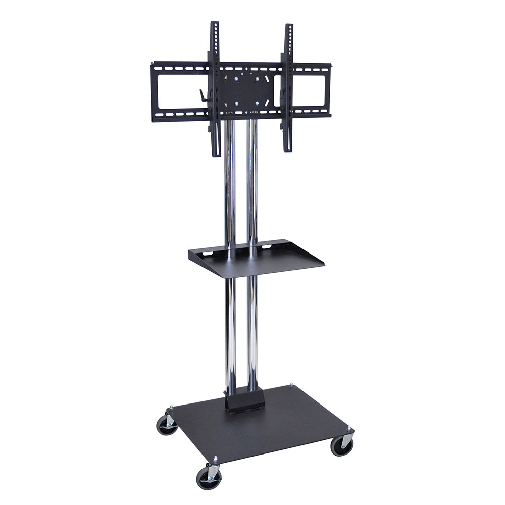 Luxor Furniture WPSMS62SCH-4 Mobile Flat Panel TV Stand & Mount w/ Shelf, Accomodate to 60-in, Black Base
