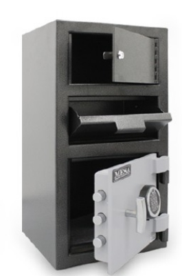 Mesa Safe MFL2014E-OLK BLKGR Depository Safe - All Steel, Electronic and Key Lock, 1.5 cu ft Blk/Gry