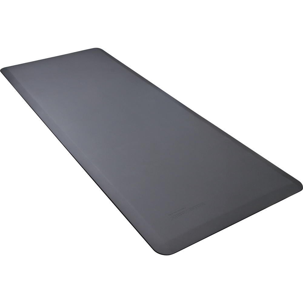Wellness Mats FIT6GRY Fitness Mat w/ No-Trip Beveled Edge & Non-Slip Material, 6x2.5-ft, Gray