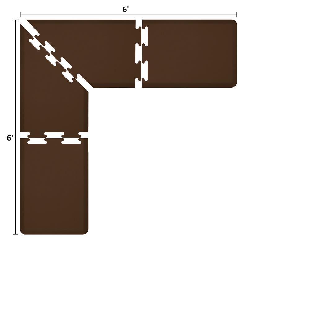 Wellness Mats LS2WMP66BRN L-Series Puzzle Piece Collection w/ Non-Slip Top & Bottom, 6x6x2-ft, Br