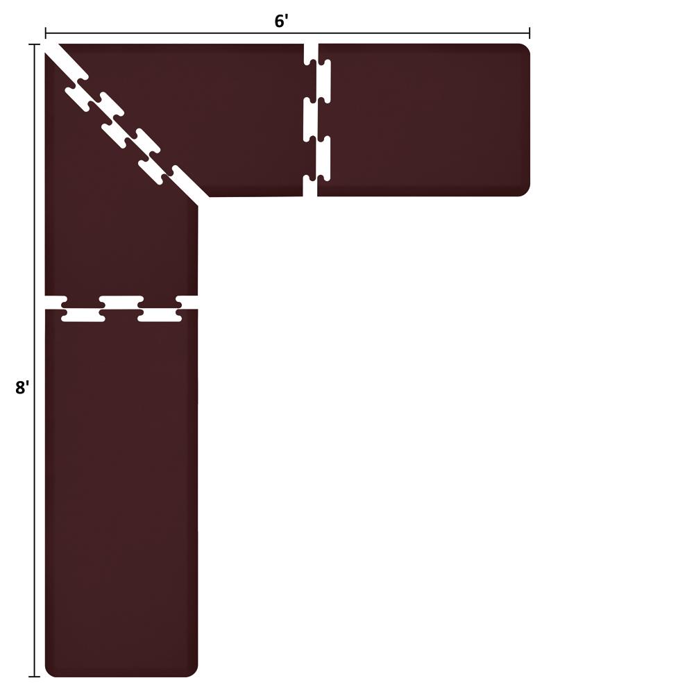 Wellness Mats LS2WMP86BUR L-Series Puzzle Piece Collection w/ Non-Slip Top & Bottom, 8