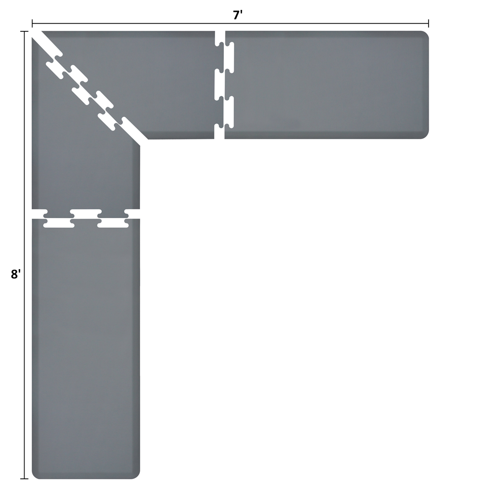 Wellness Mats LS2WMP87GRY L-Series Puzzle Piece Collection w/ Non-Slip Top & Bottom, 8x7x2-ft, Gray