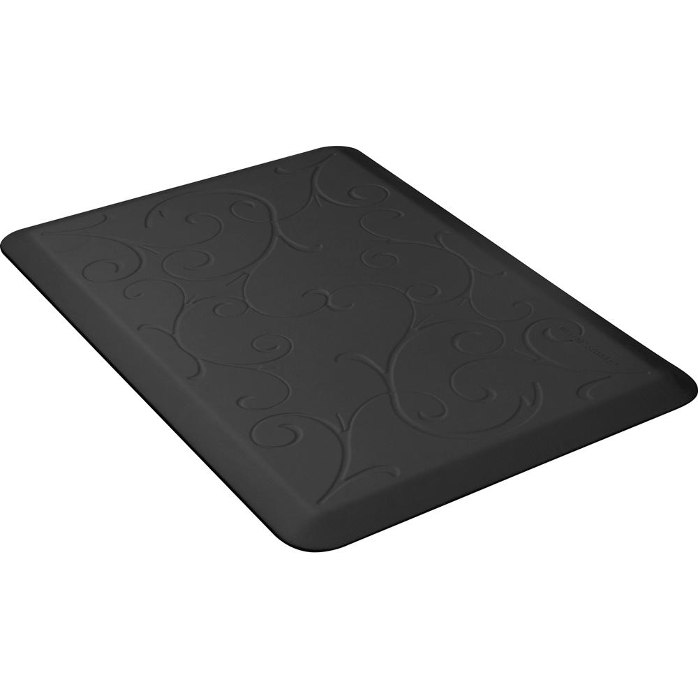 Wellness Mats PMB32WMRBLK Bella Motif Mat w/ No-Trip Beveled Edge & Non-Slip Material, 3x2-ft, Black