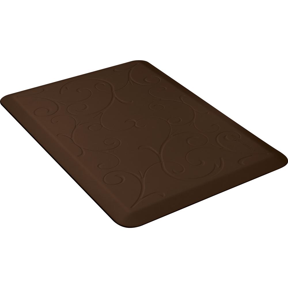 Wellness Mats PMB32WMRBRN Bella Motif Mat w/ No-Trip Beveled Edge & Non-Slip Material, 3x2-ft, Brown